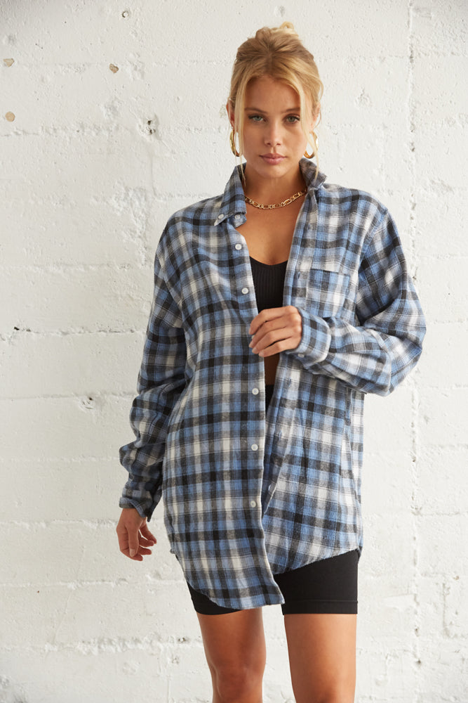 blue plaid flannel shirt.