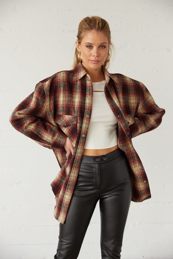 Tan and burgundy oversized flannel.