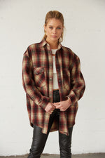 Plaid oversized flannel shirt.