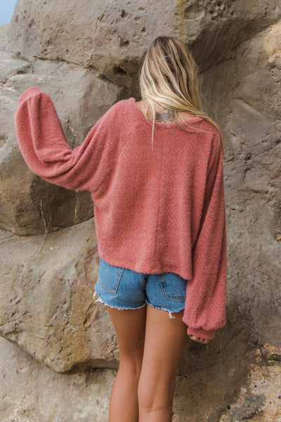 Santa Monica Fuzzy Sweater Top