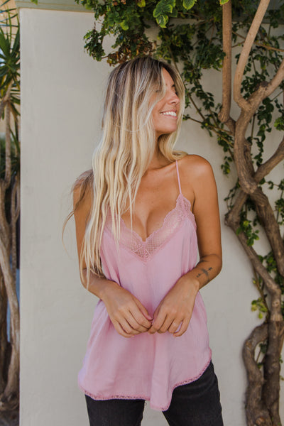 Make Me Blush Lace Tank
