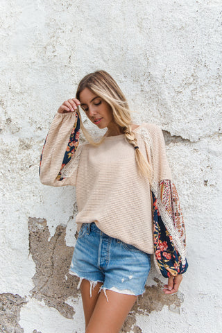 Only You Printed Sleeves Top