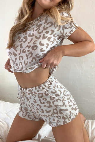 Sandy Leopard Short Set