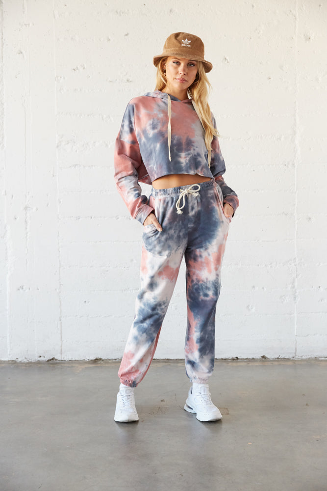 This cropped sweatshirt is paired with matching tie dye joggers.