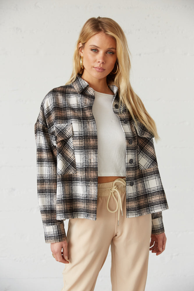 Crop flannel shacket.