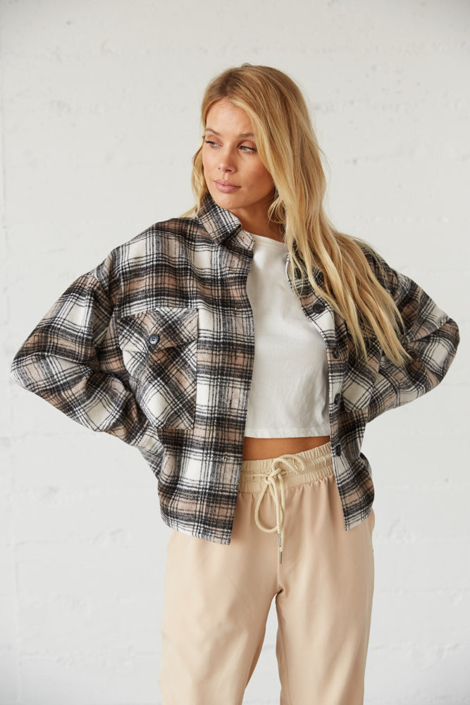 Boxy cropped shacket with button up front.