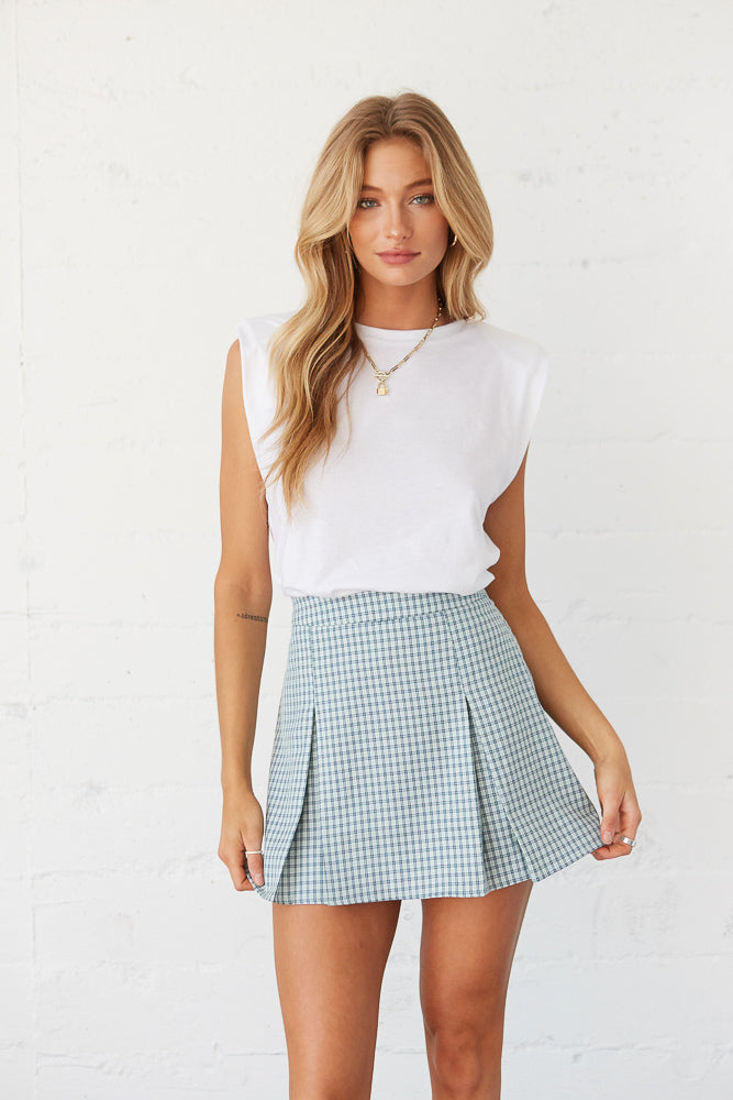 Blue and green plaid checkered mini skirt.