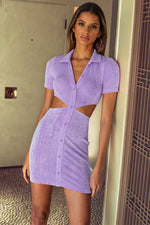 Clara Collared Cut Out Mini Dress in Lilac