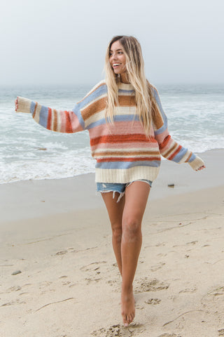 Cool Nights Striped Knit Sweater
