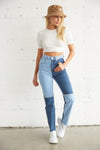 Equilibrium Patchwork Denim Mom Jeans