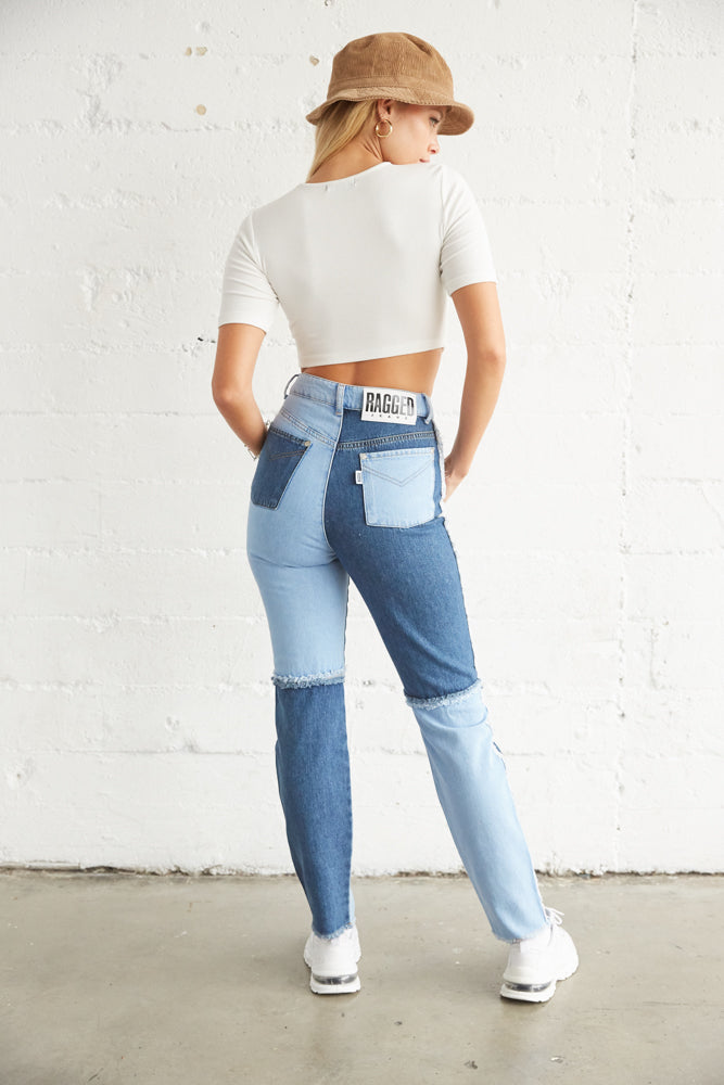 The back of this crop top is simple and fitted.