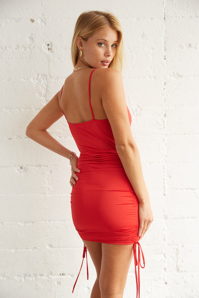 The back of this dress has a ruched design.