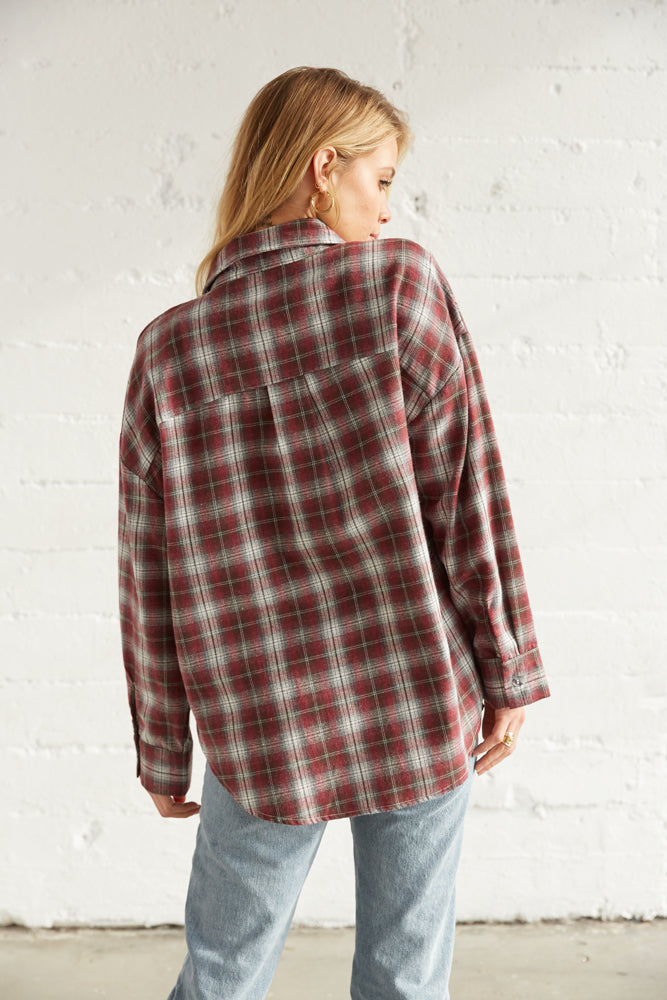 The back of this flannel is relaxed.