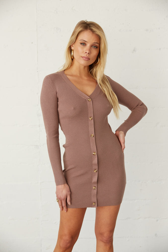 Mocha ribbed knit dress with long sleeves.