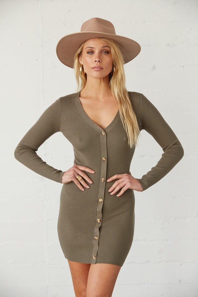 Olive sweater dress with button up front.