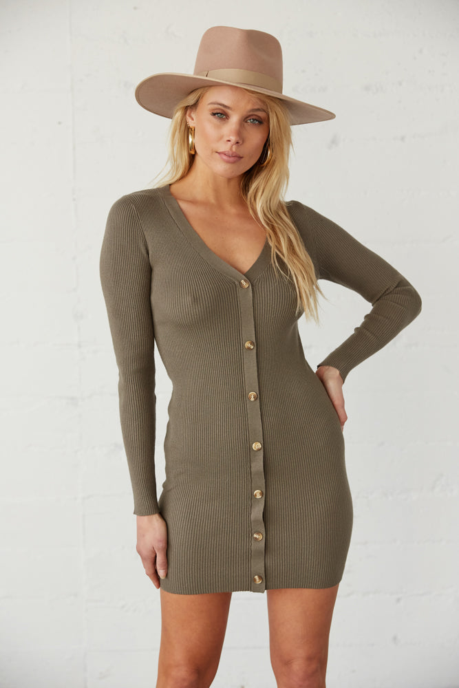 Olive ribbed knit long sleeve dress.