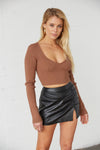 Brown ribbed crop top.