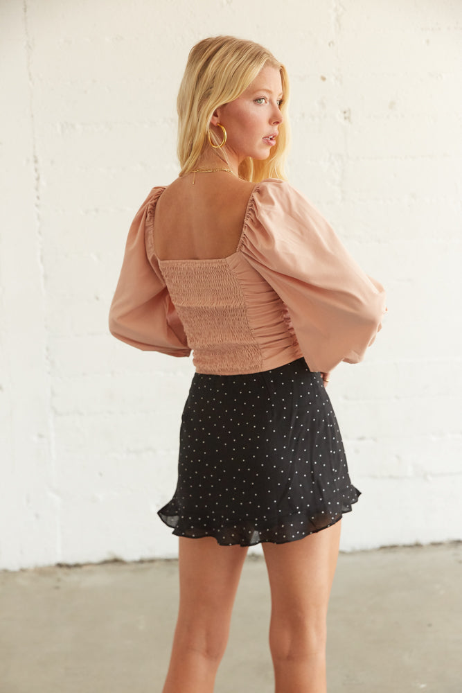 Ruffle skirt with star print.