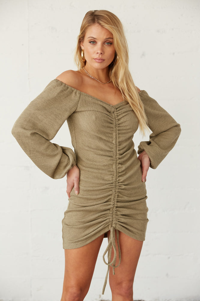 Olive green dress cinched dress.