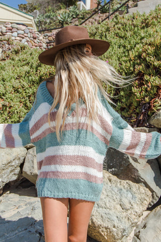 Faded Love Striped Oversized Sweater