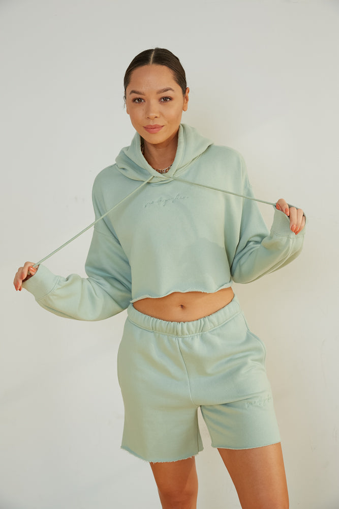 Girlfriend Crop Hoodie In Sage