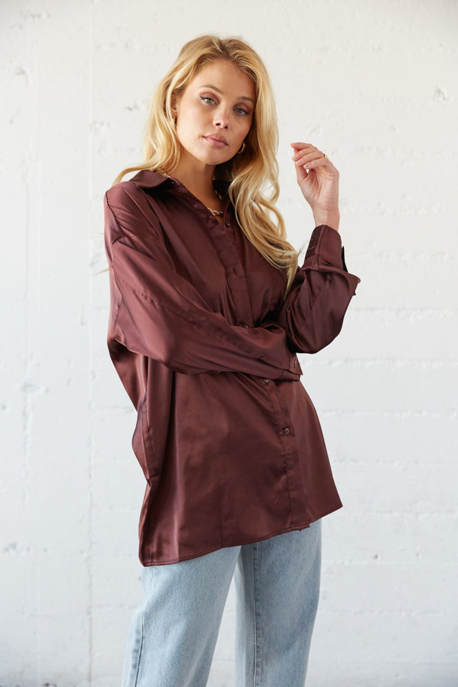 Coco button up shirt with satin feel.