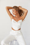 White satin cowl neck crop top.