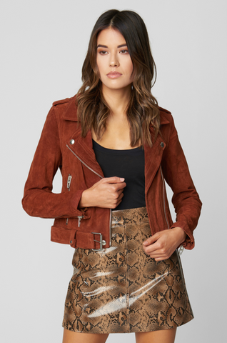 Blank NYC Suede Moto Jacket In Tobacco