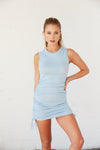 Blue ruched mini dress with crew neckline.