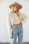 White cropped knit sweater with a super soft design.
