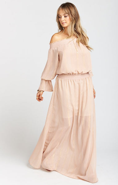 Mumu Wanda Maxi Dress In Sparkle And Shine Mauve