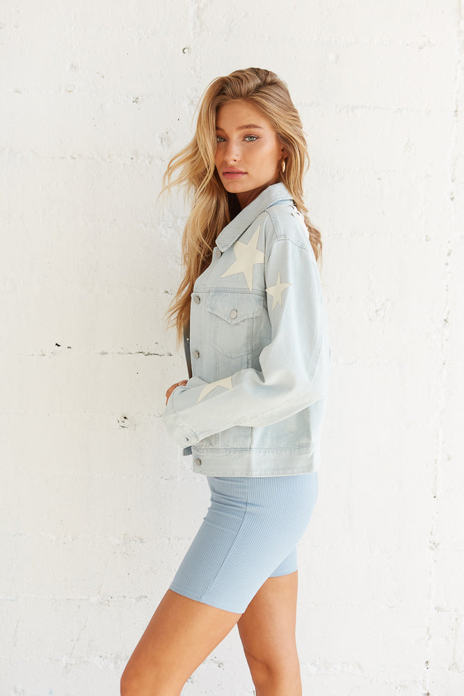 Side view of denim jacket.