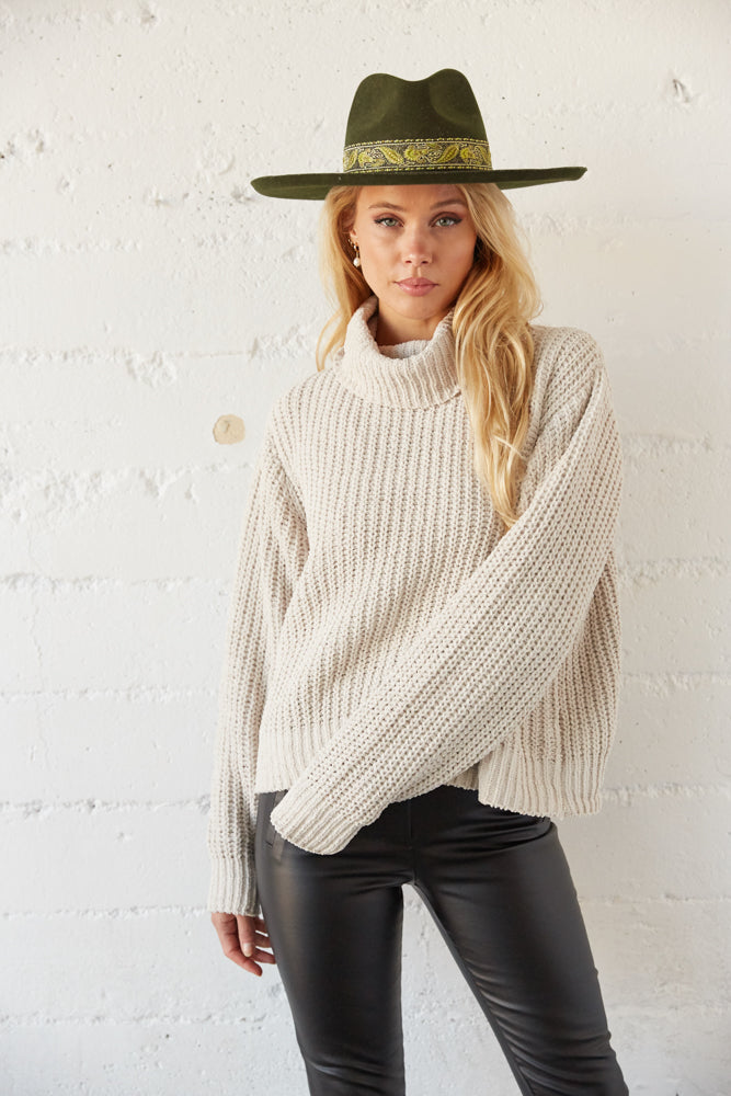 Cozy knit turtleneck in off white.