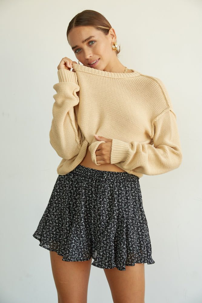 Boxy cropped sweater in tan.
