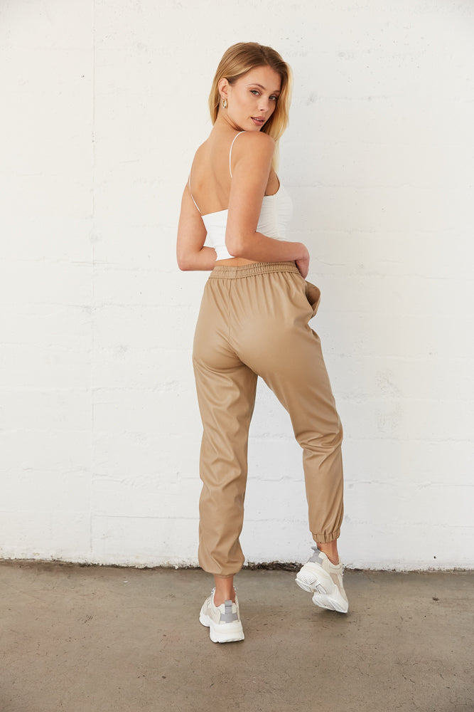 The back of these joggers are relaxed with an elastic waist and feet.