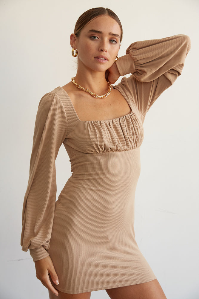 Mocha ribbed mini dress.