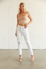 White distressed mom jeans.