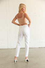 Back detail of the white mom jeans.