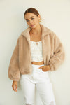 Faux fur jacket with bomber silhouette.