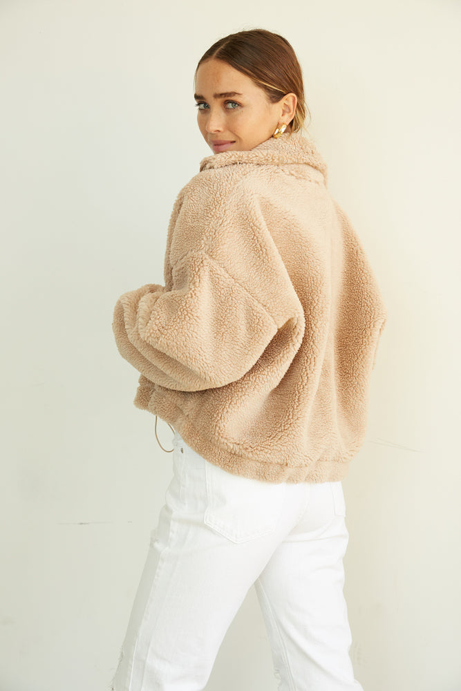 slouchy bomber coat in a soft teddy design.