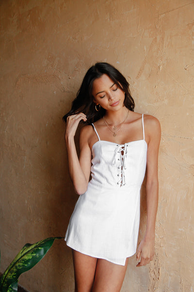Slow Dance Lace Up Romper