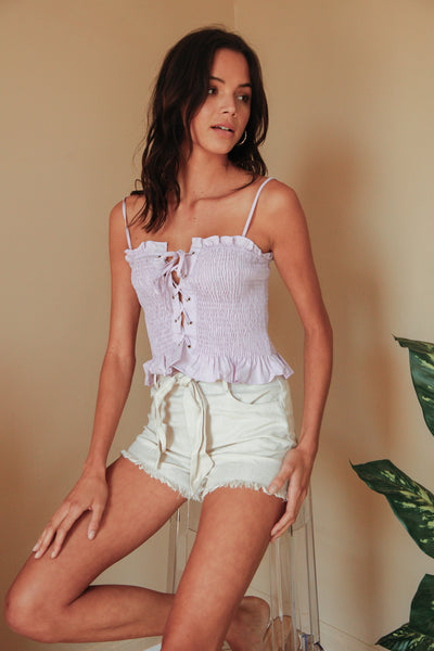 Midsummer Smocked Lace Up Tank