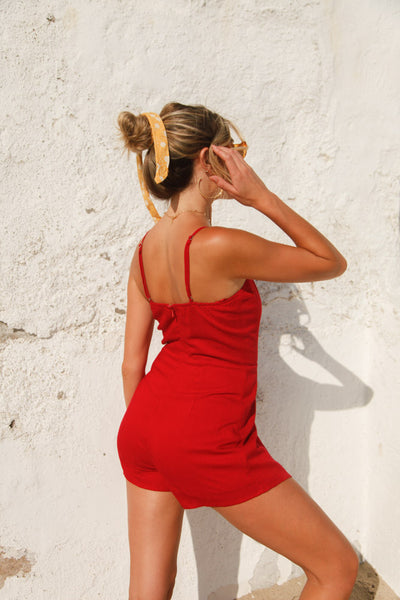 Touchdown Lace Up Romper in Red