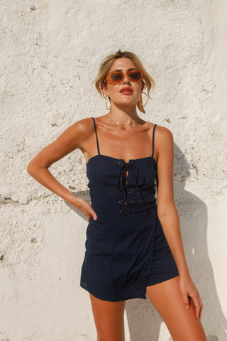 Touchdown Lace Up Romper in Navy
