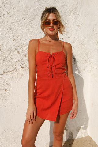 Touchdown Lace Up Romper in Burnt Orange