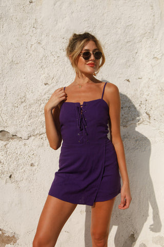 Touchdown Lace Up Romper in Purple