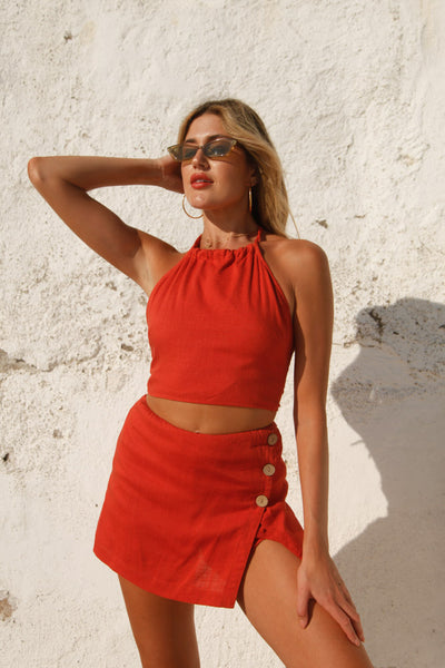 Half Time Skort Set In Burnt Orange