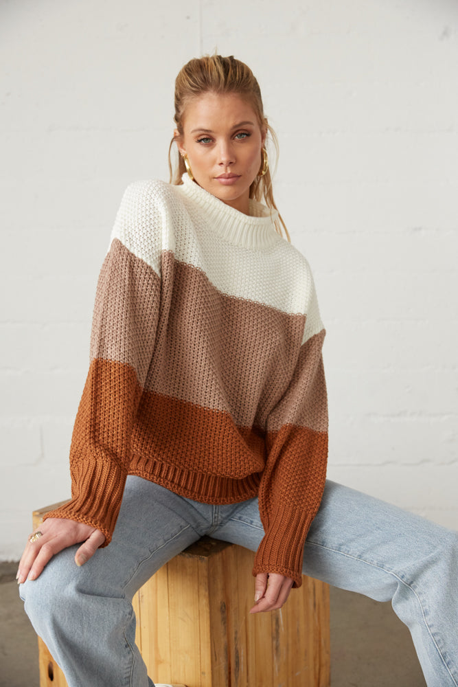 tri color knit oversized sweater.