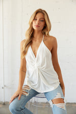 Front view of twist front flowy tank top.