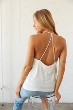Back view of tank top shows off thin racerback straps.